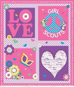 Girl Scout Promise Peace Love Purple Pink Scouts Cotton Fabric Panel