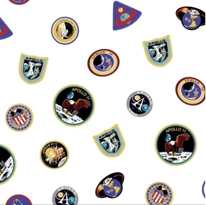 Apollo 11 Nasa The Eagle Has Landed Space Badges White Cotton Fabric