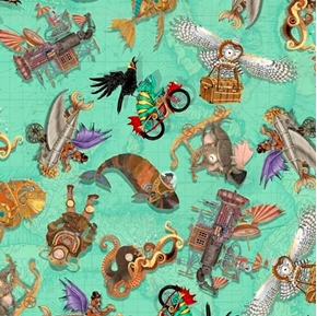 Fantasy and Fiction Steampunk Toss Science Fiction Green Cotton Fabric