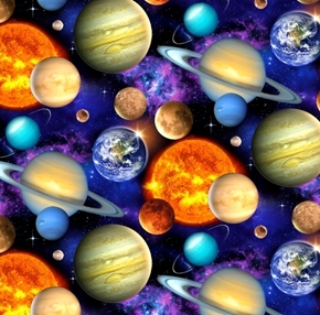 In Space Solar System Packed Planets Saturn Jupiter Cotton Fabric