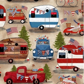 American Spirit Camping Patriotic Campers and Trucks Cotton Fabric