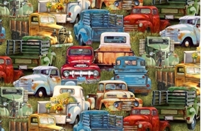 Vintage Trucks Old Colorful Pick-up Truck Graveyard Cotton Fabric