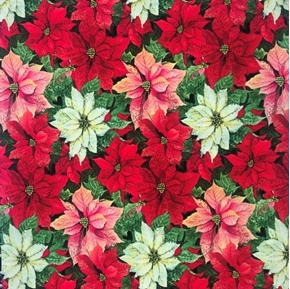 Poinsettia Flowers Susan Winget Red Pink White Blooms Cotton Fabric
