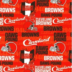 NFL Football Cleveland Browns Dawg Pound Orange Cotton Fabric