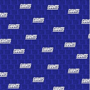 NFL Football New York Giants Mini Print Blue Cotton Fabric