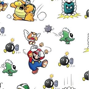 Nintendo Marios in Trouble Super Mario Video Game Bombs Cotton Fabric