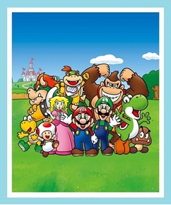 Nintendo Super Mario and Friends Video Game Large Cotton Fabric Panel