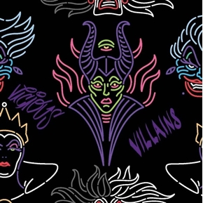 Disney Villain Outline Villains in Neon Colors on Black Cotton Fabric