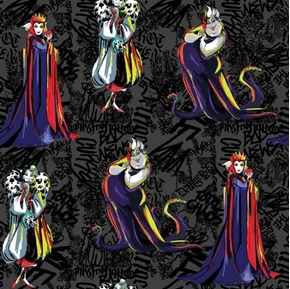 Disney Villain Villains Sketched Cruella Ursula Black Cotton Fabric