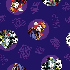 Disney Villains Toss Evil Queen Badges on Purple Cotton Fabric