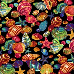 Picture of Tropical Treats Colorful Seashells Shells Starfish Black Cotton Fabric