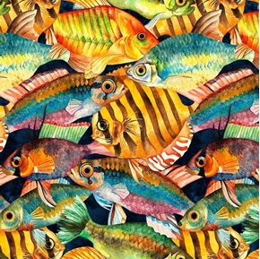 Picture of Tropical Treats Colorful Fish Swimming on Black Cotton Fabric