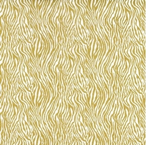 Picture of Mini Zebra Stripe Gold Metallic Zebra Fur on White Cotton Fabric