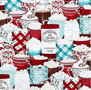 Picture of Cuppa Cocoa Winter Mugs of Hot Chocolate and Peppermints Cotton Fabric