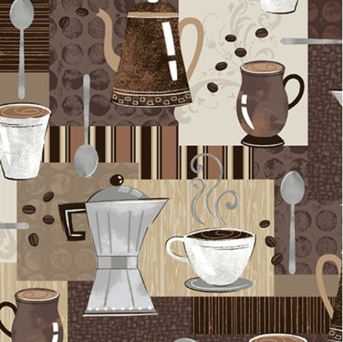 Picture of Dark Roast Coffee Mugs Pots Spoons Espresso Brown Cotton Fabric