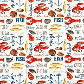 Picture of Fresh Catch Cooked Seafood Lobster Mussels Clams Fish Cotton Fabric