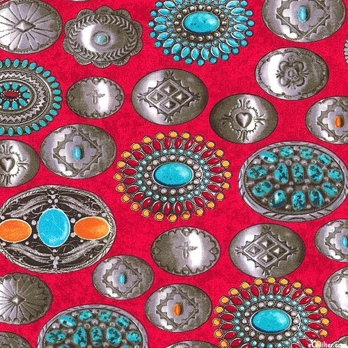 Picture of Coyote Canyon Southwest Belt Buckles Turquoise Silver Cotton Fabric