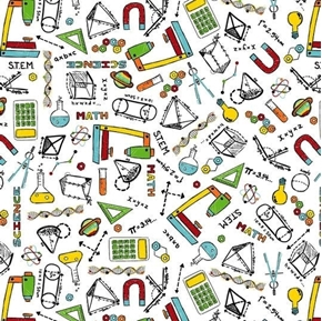 Picture of S.T.E.M. Science Tech Engineering Math Education School Cotton Fabric