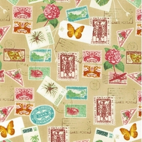 Picture of Paradise International Postage Stamps Mail Stamp Brown Cotton Fabric