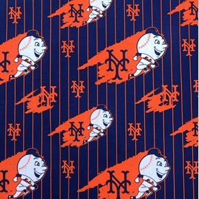 MLB Baseball New York Mets Cooperstown Blue Stripe Cotton Fabric