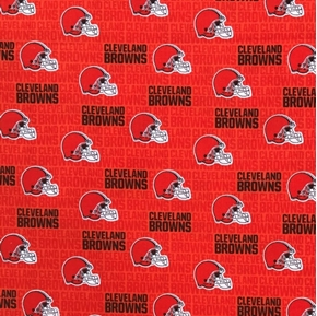 NFL Football Cleveland Browns Mini Print Orange Cotton Fabric