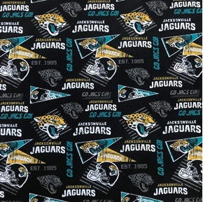 NFL Football Jacksonville Jaguars Retro Black Cotton Fabric