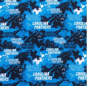 NFL Football Carolina Panthers Distressed Black and Blue Cotton Fabric