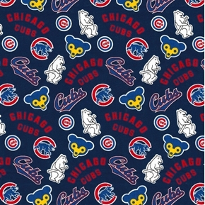 MLB Baseball Chicago Cubs Cooperstown Blue Cotton Fabric