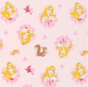 Picture of Disney Forever Princess Aurora in Wreathes Sleeping Beauty Pink Cotton Fabric