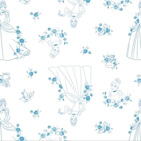 Picture of Disney Forever Princess Cinderella Toile Blue on White Cotton Fabric