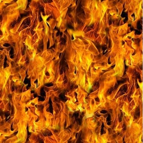 Picture of Under Fire Gold Flames Flickering Fire Cotton Fabric