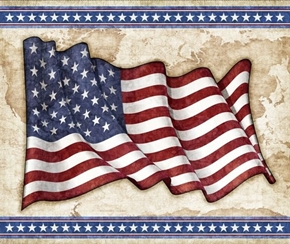 Picture of All American Flag Patriotic Waving Flag Cotton Fabric Panel