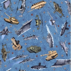 Picture of All American Military Vehicles Tank Submarine Jet Blue Cotton Fabric