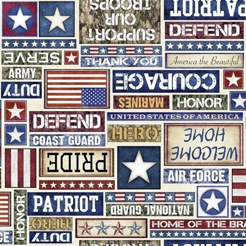 Picture of All American Patriotic Text Military Courage Protect Cotton Fabric
