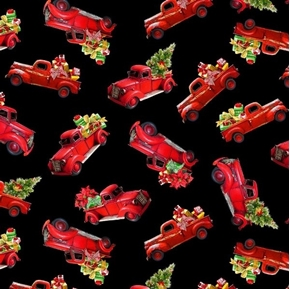 Picture of Red Trucks with Christmas Presents Holiday Black Cotton Fabric