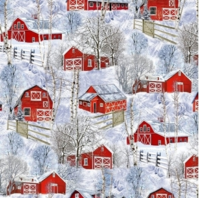 Picture of Winter Barn Red Barns in the Snow Country Holiday Cotton Fabric