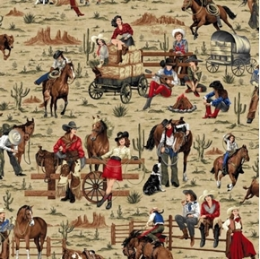 Picture of Cowgirl Spirit Cowgirls Allover Woman on the Farm Tan Cotton Fabric