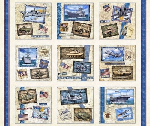 Picture of All American Military Patches Patriotic Hero Cream Cotton Fabric Panel