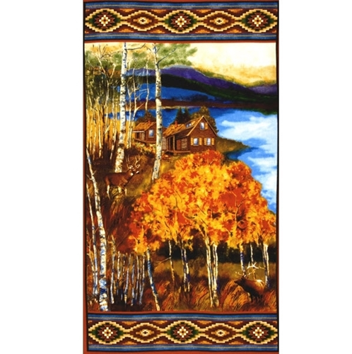 Picture of Cabin and Wildlife in Southwest Woods 24x44 Large Cotton Fabric Panel