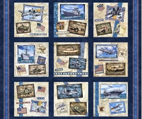 Picture of All American Military Patches Patriotic Hero Navy Cotton Fabric Panel