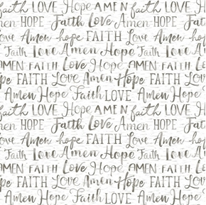 Picture of Words of Faith Hope Love Oh Come Let Us Adore Him White Cotton Fabric