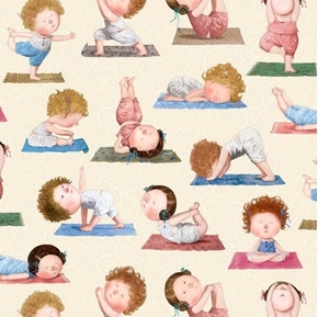 Picture of On a Path to Harmony Yoga Positions Women on Cream Cotton Fabric
