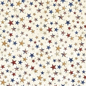 Picture of All American Stars Patriotic Red Gold Blue Stars on Ecru Cotton Fabric