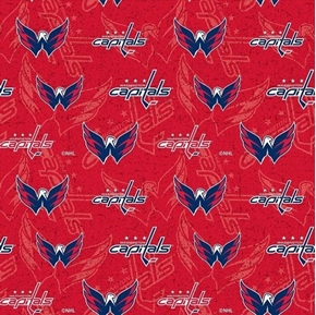 Picture of NHL Hockey Washington Capitals Tone on Tone Red Cotton Fabric