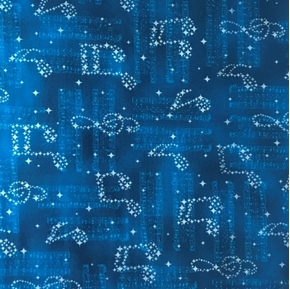 Picture of In Harmony Music Notes Silver Metallic Musical Blue Cotton Fabric