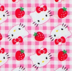 Picture of Hello Kitty Gingham Strawberries on Pink Plaid Cotton Fabric