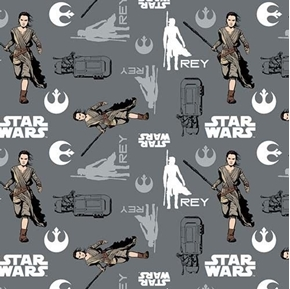 Picture of Star Wars The Force Awakens Rey on the Run Gray Cotton Fabric