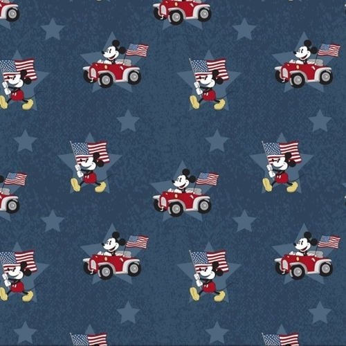Picture of Disney Patriotic Mickey Mouse Stars and Flags Navy Blue Cotton Fabric