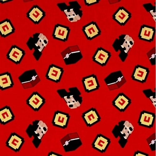 Picture of Disney Crossy Road Icons Mickey Mouse Pixel Red Cotton Fabric