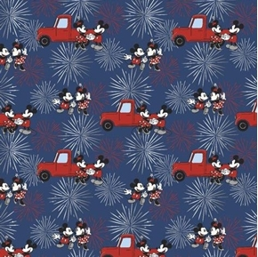 Picture of Disney Mickey and Minnie Fireworks Patriotic Red Truck Cotton Fabric